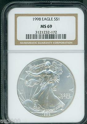 1998 American Silver Eagle S$1 ASE NGC MS69 MS-69 Premium Quality PQ+ !!!