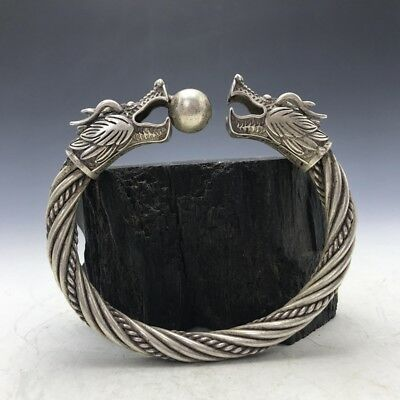 Old China's Miao silver Handmade twist-style creative Dragon Bracelet.   a192