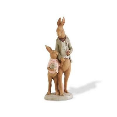 """K&K Vintage Reproduction Primitive 10"""" Father and Son Easter Bunny Rabbits"""