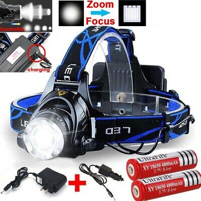 Zoom 90000LM Rechargeable T6 LED Headlamp & 18650 Battery Headlight Flashlight
