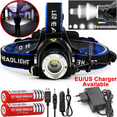 Rechargeable 90000LM T6 LED Headlight Headlamp Head Torch 18650 Flashlight Camp