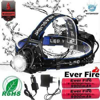 Zoomable 90000LM Waterproof T6 LED Headlamp + 18650 Headlight Flashlight Torch