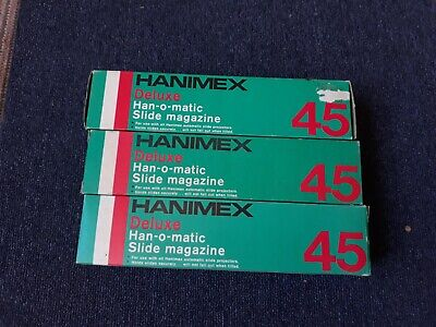 3 Vintage Hanimex Deluxe 45 Han-O-Matic Slide Magazines + Slides of UK 1982