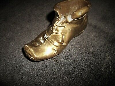 Genuine Vintage Solid Heavy Peerage Brass Boot Match Holder Mouse On Rim #2