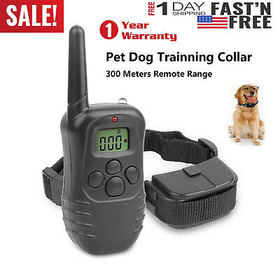 100LV 300 Yard Shock Vibra Pet Dog Training Collar With LCD Remote Rechargeable