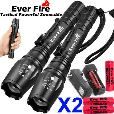 350000LM T6 LED Zoom Rechargeable High Power Torch Flashlight Lamp Light+Charger