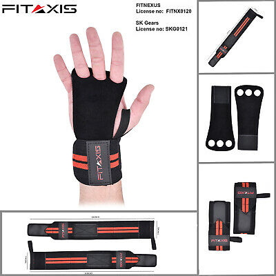 FITAXIS Leather Crossfit Glove 3 Hole Cross Grips Pull Up Hand Grips deadlifting
