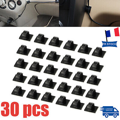 30X Auto-adhésif Clips de Voiture  Autocollant Rectangle Support de Câble