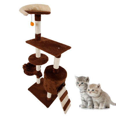 "53"" Cat Tree Tower Condo Sleep House Pet Scratch Post Kitten Furniture Coffee"
