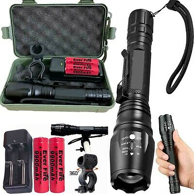 90000LM T6 LED Flashlight Rechargeable Zoomable Torch 18650 Battery Charger Camp