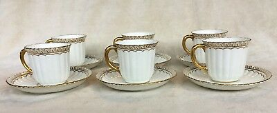 6 X Royal Crown Derby Fluted White & Gold Demitasse/coffee Cups & Saucers 1St