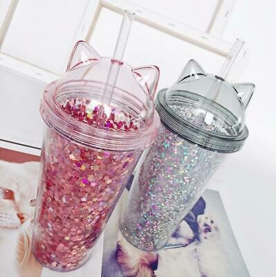 Plastic BPA Water Bottle with Straw Flash Cat Ear Double Drinking Drinkware Gift