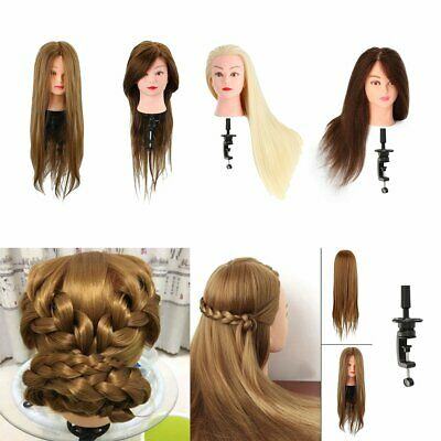 Salon Training Head Real Human Hair Hairdressing Styling Mannequin Doll Clamp