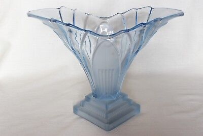 Large Art Deco Blue Glass 'Greta' Vase by Walther