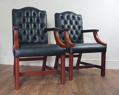 One Vintage English Gainsborough Leather Chesterfield Library Chair Armchair