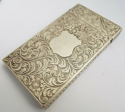Lovely Early Dated English Antique 1849 Solid Sterling Silver Calling Card Case