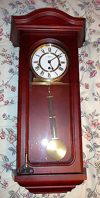 Hermle Westminster Chime Wall Clock With Glazed Sides In Mahogany Finish