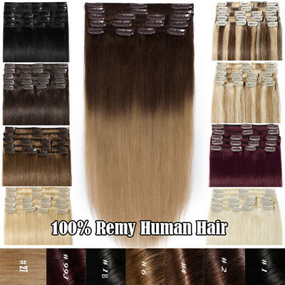 """UK Stock 100% Real Remy Human Hair Extensions Clip in Ombre 8PCS 8""""-24"""" DIY CURL"""