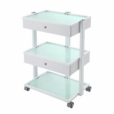 Glass Salon Trolley Beauty Hair Spa Product Display Cabinet 2 drawer