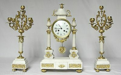 0336 Antique  Bronze Gilded French Marble Colums Pendule. Clock Uhr Horloge Klok