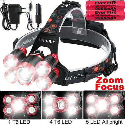 100000Lumens T6 Zoomable LED Headlamp Flashlight Head Light Torch Camping Light