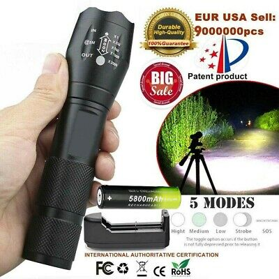 90000LM T6 Zoomable Tactical LED Flashlight Torch Lamp+18650 Battery+Charger