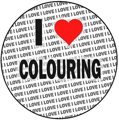 """I Love Colouring - 8"""" 20cm Circle Icing Cake Topper Decoration"""