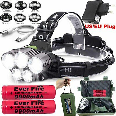Tactical 100000LM T6 LED Headlamp Headlight Torch Rechargeable Flashlight 18650