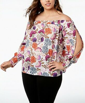 4c5a971535d1c8 INC International Concepts Plus Off-The-Shoulder Split Sleeves Floral Blouse  0X