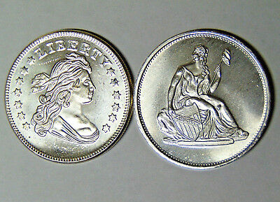 Lot of 2 Silver 1 oz .999 Fine Rounds: Bust Dollar Seated Liberty Design (82718)