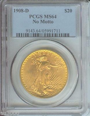 1908-D NO MOTTO $20 ST. GAUDENS Denver DOUBLE EAGLE PCGS MS64 SAINT Near GEM !