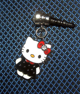 Hello kitty cell phone charm dust cover dressed in black