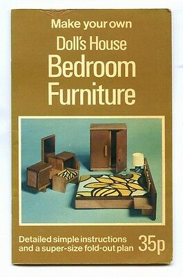 MAKE YOUR OWN DOLL'S HOUSE BEDROOM FURNITURE Andrew Calder - FOLDAPLAN BOOK 1974