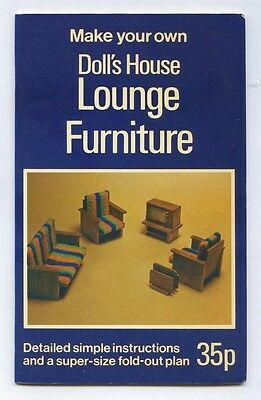 MAKE YOUR OWN DOLL'S HOUSE LOUNGE FURNITURE Andrew Calder - FOLDAPLAN BOOK 1974