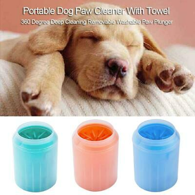 Portable Dog Paw Cleaner With Towel Pets Cleaning Brush Cup Foot Feet Washers