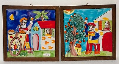 Pair (2) of Bicottura Tradizionale Ceramic Tiles Signed Hand Painted Italy