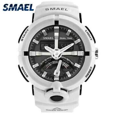 SMAEL Mens Sport Watch Military Watches LED Quartz Dual Display Wristwatches