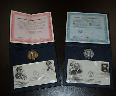 Two Danbury Mint Commemorative Sets - Bronze MacArthur, Sterling Eisenhower