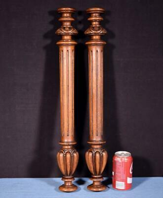 "*24"" Pair of French Antique Walnut Wood Posts/Pillars/Columns"