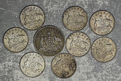 9 Australia Silver Coins - Better Date 1915 Shilling and 8 1942 Sixpence Coins