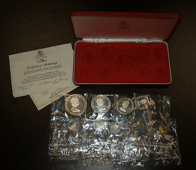 1972 Bahamas 9 Coin Proof Set w/4 Silver Coins
