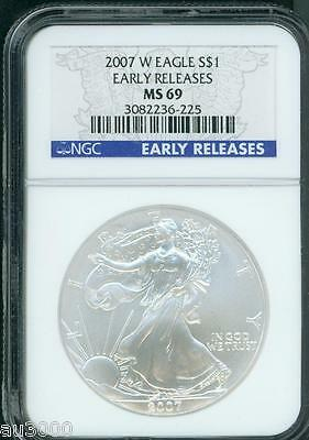 2007-W BURNISHED American Silver Eagle ASE S$1 NGC MS69 Early Releases ER