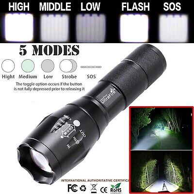 T6 Tactical Military LED Flashlight Torch 90000LM Zoomable 5-Mode for 18650 Lamp