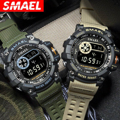 SMAEL Digital Wristwatches Military Sports Watches Men Watch 50M Waterproof LED