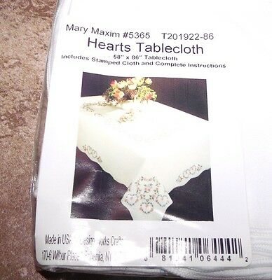 """HTF Tobin Stamped Tablecloth HEARTS  58"""" x 86"""" OBLONG Embroidery"""
