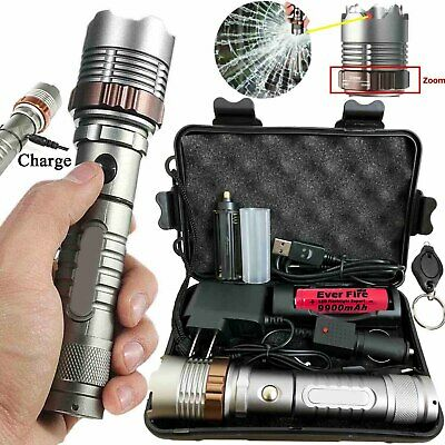 Rechargeable 90000LM Tactical Military LED Flashlight T6 Torch+18650 Charger+Box