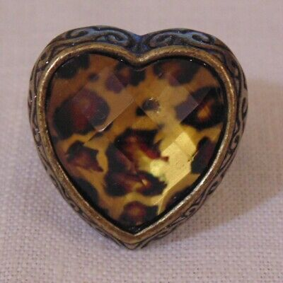 Antique Vintage Bronze Ring with Leopard Heart Design