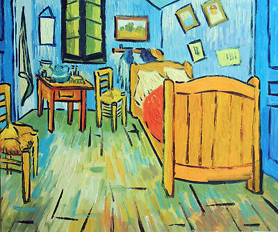 Van Gogh Bedroom Bed In France Repro Still Life Stretched 20X24 Oil Painting