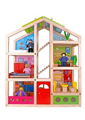 Toysters Wooden Dollhouse Playset with Furniture | Adorable 6-Story Doll House