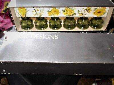 Vintage Boxed Dansk Jens Quistgaard 6 X Green Glass Inkwell Posy Vases / Candles
